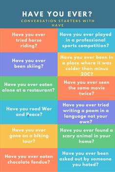 Practising asking and answering questions with have you ever, with lots of examples and a quiz Have You Ever Questions, This Or That Questions, English Lessons, Learn English, Ice Breaker Games For Adults, Icebreaker Activities, School Icebreakers, Home Health Care, Ice Breakers