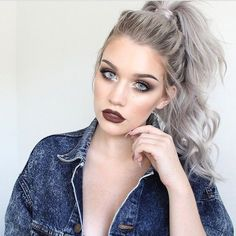 Messy High Ponytail for Silver Grey Hair