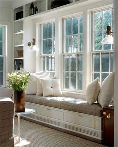 40 Ideas built in lounge seating window benches Storage Bench Seating, Corner Seating, Banquette Seating, Office Seating, Lounge Seating, Kitchen Seating, Kitchen Banquette, Office Nook, Office Storage