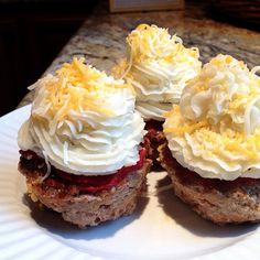 Meatloaf and Mashed Potato Cupcakes Sprinkled with Cheese