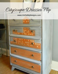 Cityscape Dresser Flip - www.michellejdesigns.com -  A dresser for storage in the guest bedroom and created for the Fab Furniture Flippin Contest #FFFC