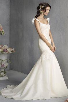 2013 Estilo Trompete / Sereia Correias applique mangas Varrer / Escova Chiffon vestidos de casamento para noivas