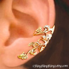 Art Nouveau Stream ear cuffs Sterling Silver by RingRingRing