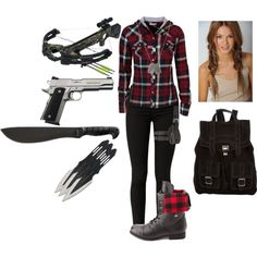 Untitled #24, created by mayaforever3 on Polyvore--- This is the best zombie apocalypse outfit and weapons I've seen...