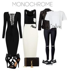"""#Monochrome"" by costaelsa on Polyvore featuring Solid & Striped, Donna Karan, WithChic, Calvin Klein, NIKE, Michael Antonio, Yves Saint Laurent and monochrome"