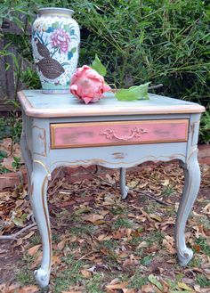 Painted French Side Table Shabby Cottage Gray Green Pink Gilt Distressed. $175.00, via Etsy.