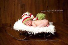 infant photos in christmas stocking   Newborn Christmas Stocking Cap by AuntSarahsKnits on Etsy