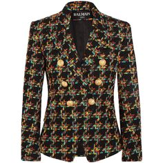 Balmain Double-breasted houndstooth tweed blazer ($2,400) ❤ liked on Polyvore featuring outerwear, jackets, blazers, blazer, balmain, coats, colorful blazers, hounds tooth jacket, double breasted blazer and multi colored blazer