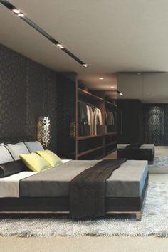 Bedroom:Luxury Design Bedroom With Classy Platform Bed With Fur Rug And Black Wallpaper Design With Mirror Sliding Door For Walk In Closet A...
