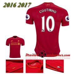 Les Nouveaux Maillot Liverpool FC COUTINHO 10 Domicile Rouge 2016 2017: fr-moinscher