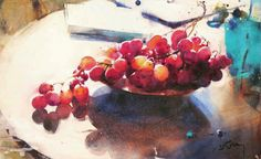 Marc Folly Red Grapes watercolor.