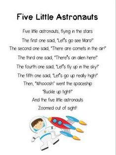 Five Little Astronauts ~ Printable Poem for Outer Space Th Space Theme Preschool, Preschool Songs, Preschool Crafts, Astronaut Song, Astronaut Craft, Outer Space Theme, Kids Poems, Children Songs, Finger Plays