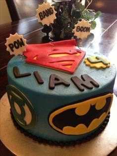 Super hero boy birthday cake