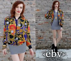 #Vintage 80s Baroque Print Bomber Jacket S M by shopEBV on Etsy, $49.00