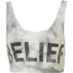 Belief Bralet (33 AUD) ❤ liked on Polyvore featuring tops, shirts, bralet, tank tops, crop tops, slogan shirts, bralette crop top, marble print shirt, crop shirts and bralette tops