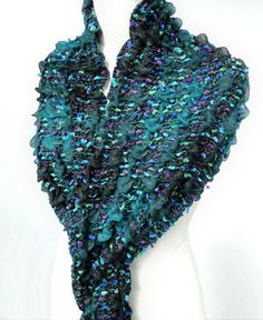 Teal Scarf. Pashmina. Crochet Shawl. Chunky Scarf. by TeresaMare