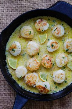 Creamy Garlic Scallops - easiest, creamiest and best scallop recipe ever. Takes only 15 mins