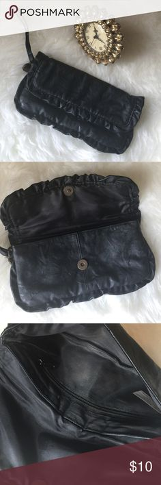 ⭐️Stylish Black Clutch ⭐️ Buttery soft material. Gently used. Has some powder makeup in the interior can be easily wiped! Such a cute little essentials bag! Bags Clutches & Wristlets