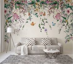 Colorful Flowers and Leaves Floral Wallpaper Bedroom Living Room Cafe Restaurant Mural Home Decor Wall Art Materials; Peel and Stick Vinyl or Non-Woven Embossed removable Wallpaper FEATURES: Wallpaper; Watercolor Flower Background, Flower Wallpaper, Leaves Wallpaper, Wallpaper Murals, Wallpaper For Walls, Modern Floral Wallpaper, Wallpaper Online, Wallpaper Ideas, Photo Wallpaper