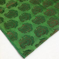 Indian silk  Dark Green and Copper Paisley Weaving by DesiFabrics, $16.00