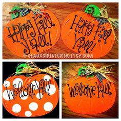 Pumpkin Decor, Custom Hand Painted Fall Pumpkin Door Sign, Door Hanger, Wood Sign, Halloween, Happy Fall Yall, Give Thanks, Welcome, Family. $ 33.00, via Etsy.