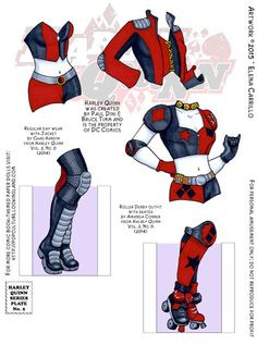 Monday Mayhem continues with some pretty traditional outfits for Harley Quinn. These are the costumes she wears most often in her new series: a basic bustier and hot pants with a jacket, and then her roller derby outfit. When I originally drafted this doll, I made these costumes all one piece, but in my revision I thought it would be more fun if you could mix and match her footwear, so I separated the boots and roller skates out (and will continue to do this for future costumes). We'll be…