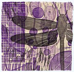 dragonfly block print  Block print over collage.