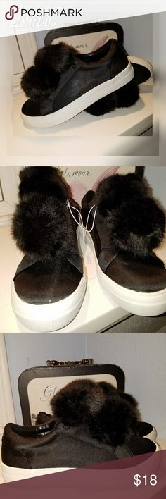 """Women's Black Faux Fur Pompom Sneakers Shoes Cute.   NWOT Looks they were o my worn as a display   Size 8.5"""" Thick sole   Stop by my closet for more great fashion deals Mossimo Supply Co Shoes Sneakers"""