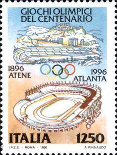 1996 - Giochi Olimpici del centenario: Atlanta 1996 - in alto rappresentazione stilizzata della città di Atene e il suo stadio, sede delle prime Olimpiadi Moderne, in basso lo stadio di Atlanta sede delle Olimpiadi 1996