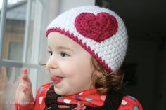 Crochet pattern, baby hat pattern with heart crochet appliqué pattern includes 4 sizes from newborn to adult (33)