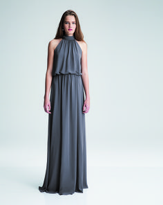 10d07609e5a Shop Bill Levkoff This bridesmaid dress features chiffon with a high halter  neckline