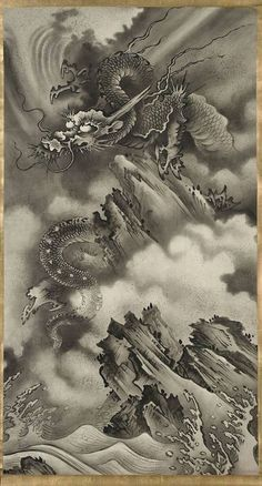 Dragon Tattoo is one of the most popular mystical tattoos. Like most other mythological tattoos, dragon tattoos are perceived in different ways by different cultures around the world. Japanese Drawings, Japanese Tattoo Designs, Japanese Prints, Japanese Dragon Tattoos, Japan Tattoo, Dragons, Japanese Painting, Dragon Art, Japan Art