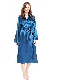 c0ffdada33 Silky Satin Robe for Women- Long Bathrobe Full Length V-Neck Dressing Gown  - Blue - CQ180392MHE