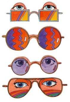 different eyes see different things in different ways; glasses illustration.