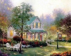 thomas kincade | Home Living: Cottages of Love - A Tribute to Thomas Kinkade