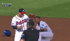 Dee Gordon reaction after being thrown out in Game 2 of 2013 NLDS. #Braves #Choptober