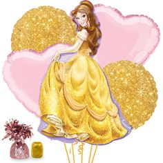 Check out Beauty & the Beast Belle Balloon Bouquet Kit   Beauty & the Beast tableware & décor for your party from Birthday in a Box from Birthday In A Box