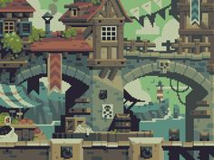 """Background art from Curses 'N Chaos by tributegames, pixeled to perfection by Stéphane Boutin a.k.a. jgsboutain."" on Retronator"