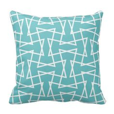 Retro Mod Zigzag Pattern in Aqua Pillows