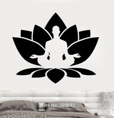 Envío gratis pared de vinilo pegatinas Home pared etiqueta de la flor de loto sentado buda meditación Yoga Studio decoración del hogar hd-007(China (Mainland))