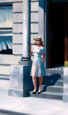 Hopper: Summertime, 1943 - Detail (notice the transparency of her dress)