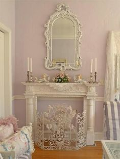 Faux Fireplace Shabby Chic Girls Bedroom