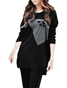 Allegra K Ladies Long Sleeve Mock Pocket Button Decor Loose Casual Tunic Shirt *** Click image for more details.