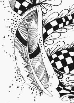 Le Creazioni di Kiara : crazy for DOODLING #16 ... FEATHERS ... piume piumette e piumaggi!