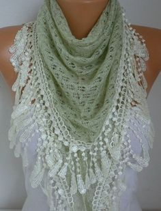 Almond Knitted Lace Scarf Shawl Cowl Oversized Bridesmaid