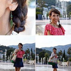 Articlemodedujour #monblog #liveloveandcook #Toulon #tendance2016 #boheme #decontracte #joyeux #couleurs #accessoires #graindemalice #cholabycarlagreta #maï.b.atypique #jupemini #jean #topavolants #gaite #rouge #tresse #kimonoafranges #sac #bijouxcreateur #☀️😊 #summer #var❤️