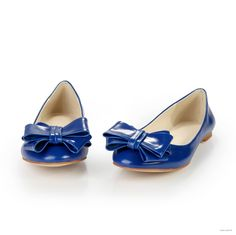 vintage wedding Comforts Royal Blue Bowknot Leather shoes $41.98
