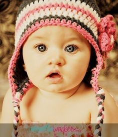 6 12 Month Baby Girl Hat Flower Earflap Beanie  by capsofgrace, $34.00