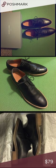 Everlane Brixton Oxfords Black 100% Italian made with genuine leather. Classic style, thick crepe rubber sole for all kinds of weather and roads. Gently used condition. Runs narrow. No trade! Everlane Shoes Flats & Loafers