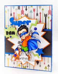 Roberto's Rascals Super Hero Henry Rubber Stamp from CC Designs Card by Martha Tucker